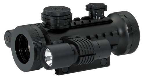 BSA 30-mm Stealth Tactical Rifle Scope with Illuminated Red, Green and Blue Dot, Laser and Flashlight
