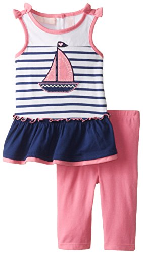 Kids Headquarters Baby Girls' Stripes Tunic with Leggings, Navy, 18 Months