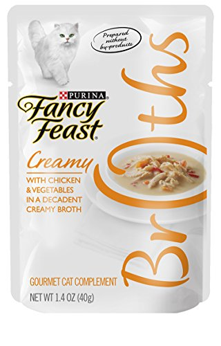 Fancy Feast Broth for Cats, Creamy, With Chicken & Vegetables, 1.4-Ounce Pouch, Pack of 32