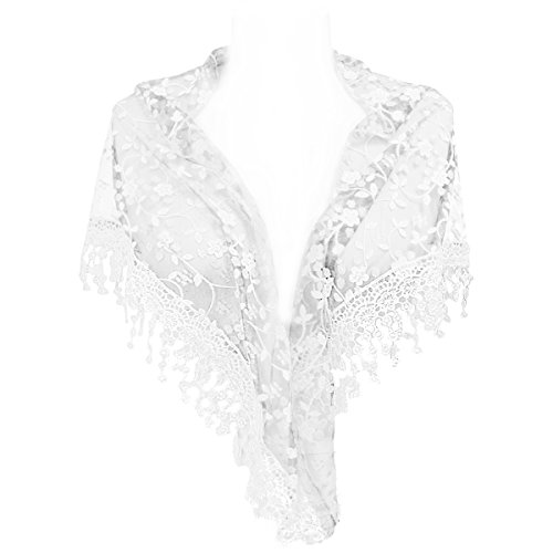 Wrapables Embroidered Floral Lace Triangle Scarf, White