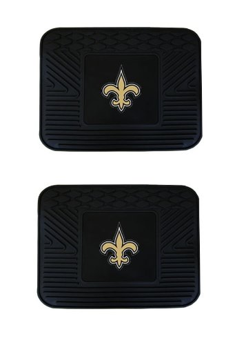 Officially Licensed NFL Universal Fit Molded Rear Rubber Utility Mats - New Orleans Saints