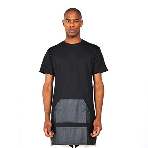 Pizoff Mens Unisex Fashion Patch Faux Leather Extended Long Side Zipper T Shirt yy0439-black-XL