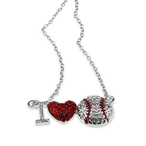 I Love Heart Baseball Pendant Necklace Softball Major Little League Fan Player Gift Jewelry