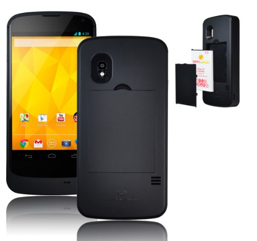 [180 days warranty] ZeroLemon LG Nexus 4 Juicer Removeable Battery Case + 1x Removeable 2250mAh Juicer Battery (Compatible Only with LG Nexus 4 E960)- WORLD'S ONLY REMOVABLE NEXUS 4 BATTERY CASE (LG-N4-BattCase-black)