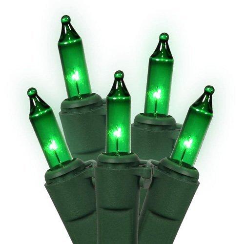 Set of 50 Green Mini Christmas Lights - Green Wire
