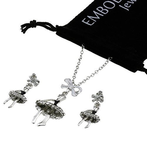 Silver Studded Crystals Ballet Girl Earrings Pendant Set in Clavicle Chain