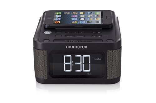 Memorex Universal Charging Alarm Clock with FM radio, Black