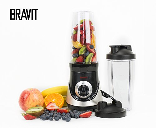 BRAVIT Professional On the Go Blender Stainless Steel with Multi Function Including Pulse Blend and Go with Two 28oz Cups