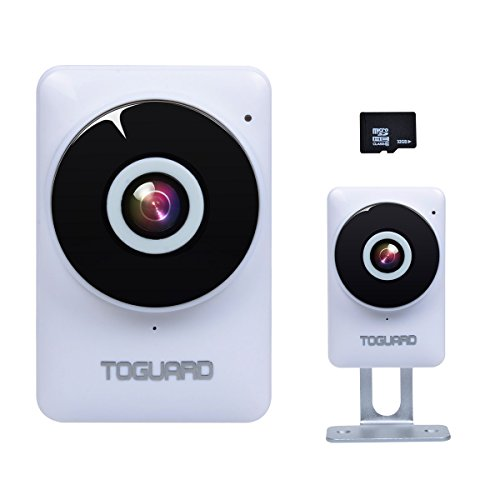TOGUARD Mini HD Wifi Surveillance Camera Home Baby Monitor Camera with 185° Panorama View Fisheye Lens, Night Vision, Real-time Intercom, Motion Detection, Remote Monitoring, Free 32G Micro SD Card