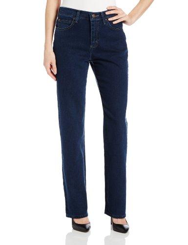 Lee Women's Petite Relaxed Fit Straight Leg Jean, Premium Dark, 10 Petite