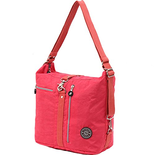 ZYSUN Women's Excellent Multifunctional Handbags Shoulder Bags Nylon Tote Bag Exquisite Travel Backpack with Adjustable Shoulder Strap(603,red)