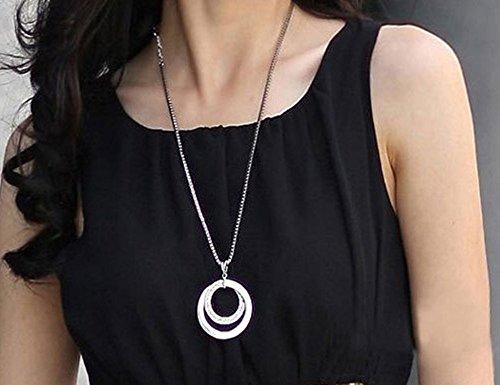 NIANPU Fashion Silver Diamond Style Alloy Double Circle Long Round Necklace