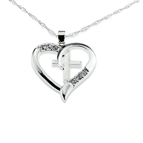 Silver Christian Cross Heart Pendant I Love Jesus Necklace Beautiful Christmas Gift for Girl Teen Woman