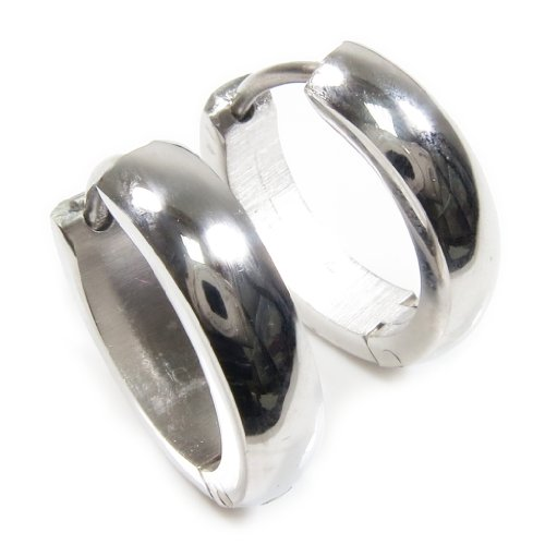 Pair Stainless Steel Polish Hoop Men Earrings
