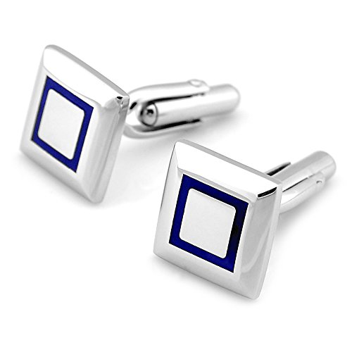 PenSee Fashion Stainless Steel & Enamel Cufflinks for Men with Gift Box-2 Colors Blue Black