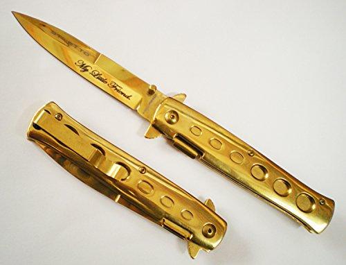 9 Scarface Tony Montana My Little Friend GOLD Milano Handle & Blade Godfather POCKET KNIFE