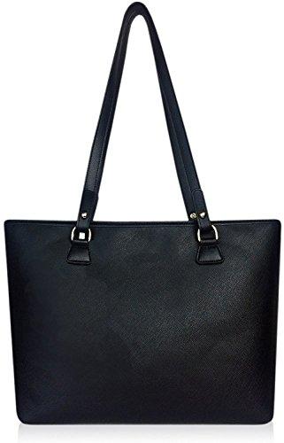 Clearance Sale -Womens Black Brown leather Canvas Handbag Shoulder Crossbody Bag