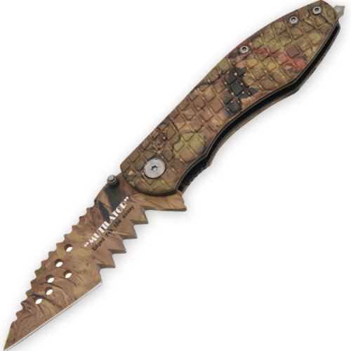 The Mutilator - Trigger Assisted Knife - Leaf Camo on Handle and Blade