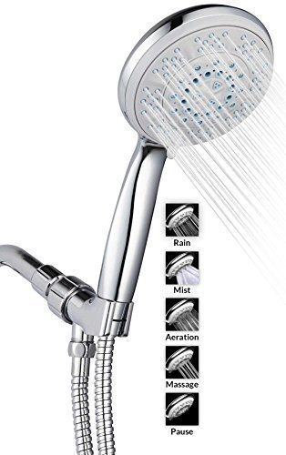 A-Flow™ 5 Function Luxury 5 Handheld Shower Head System / ABS Material with Chrome Finish / 60 Flexible Hose; Mount Holder Included / Enjoy an Invigorating & Luxurious Spa-like Experience