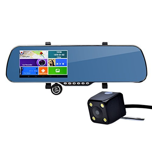 Toguard CEG81/JM 5-Inch Full HD 1080p Android GPS navigation Touch Screen Car Dash Cam Dual lens WiFi Rearview Mirror with Night Vision Rear Camera and Map