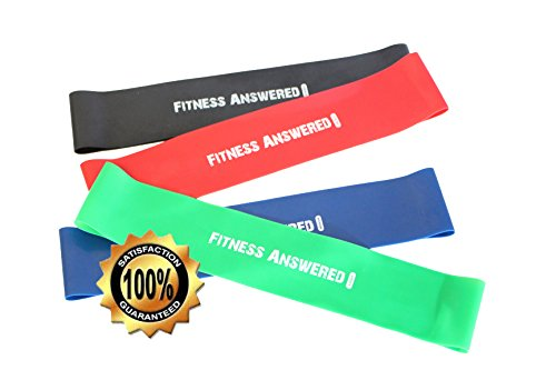 Resistance Bands - Yoga Fitness Bands - Progressive Loop Band Weights - Best Rehab - Weight Loss - Pilates - Crossfit - P90X - Endurance Training - Stretching - 10x2 in 4-Pack- NORISK Satisfaction
