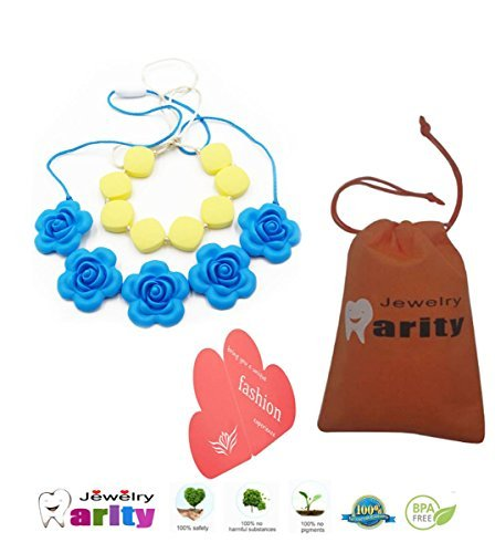 Silicone Baby Teething Nursing Necklace - Petals silicone necklace baby Safe For Mom To Wear,BPA Free Chew Beads , Best Teething toy for baby!Baby Teether Toys(2 pack)