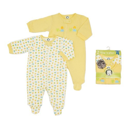 Gerber Unisex-Baby Newborn 2 Pack Zip Front Sleep and Play , Yellow/White, 6-9 Months