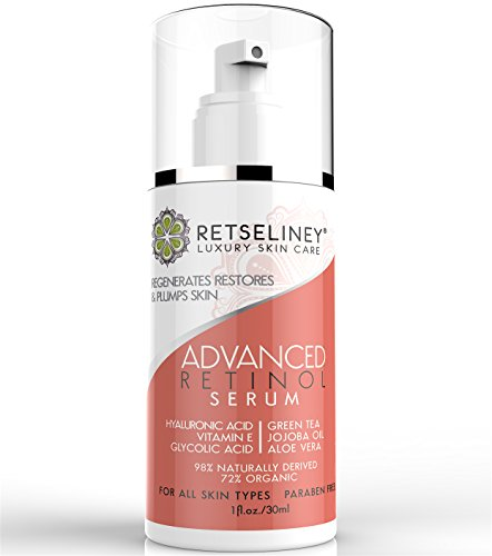 Retseliney Retinol Serum for Face & Neck, Reduce Wrinkles, Fine Lines, Dark Spots & Pigmentation + Vegan Hyaluronic Acid & Glycolic, Natural & Organic, Best Anti Aging Vitamin a Serum for Skin