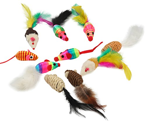 Fashion's Talk Cat Toys Feather Fur Mice Variety Pack 10 Pieces
