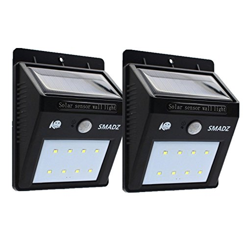 SMADZ SL12 Security Solar Motion Lights 8 LEDs for Outdoor Garden Fence Wall Step, Weatherproof (Pack of 2)