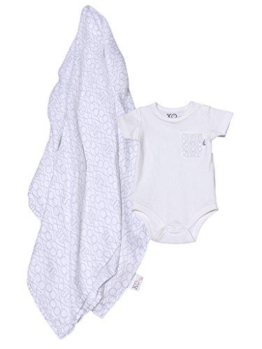 XOve Baby 100% Organic Bodysuit & XL Bamboo Muslin Swaddle Layette Gift Set