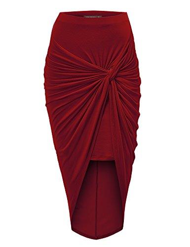 MBJ WB936 Womens Draped Wrap Style High Low Midi Skirt XXL WINE