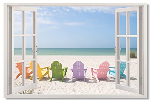 Window View Office Room Wall Decoration Outdoor Sky Lake Sandy Beach Sea Coconut Tree Modern Art