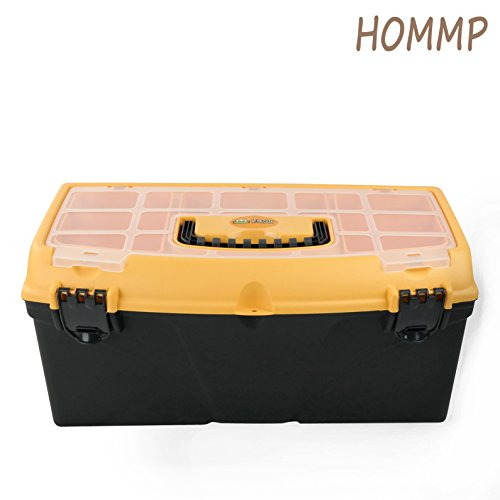 HOMMP Large Multi-Purpose Tool Box with Tray & Storage Compartments - Plastic