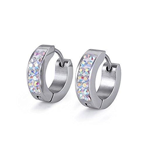 Cat Eye Jewels Mens Womens 316L Surgical Stainless Steel Clip On Huggie Hoop Earrings