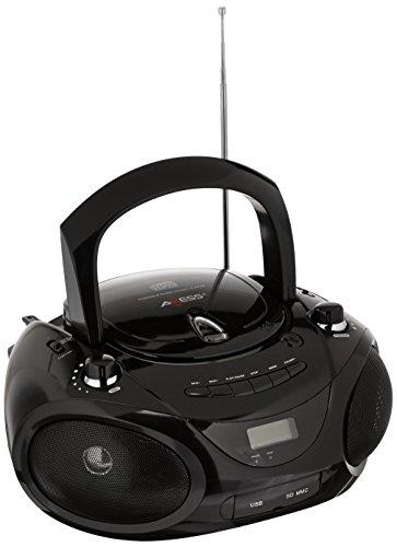 Axess PB2703-BK Portable MP3/CD Boombox with AM/FM Stereo, USB, SD, MMC (Black)