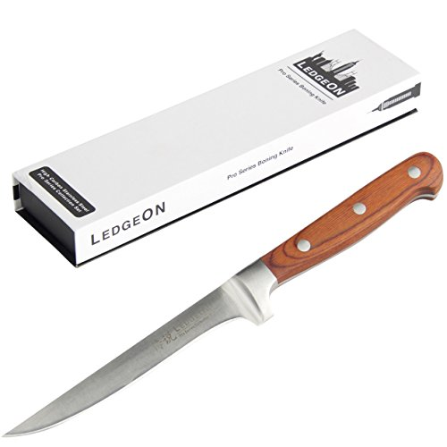 LedgeON 6 Professional Boning Knife - Pro Series - High Carbon Stainless Steel Blade - Wood Handle