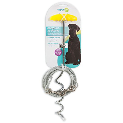 Aspen Pet 3420720 Petmate 9mm by 18-Inch Easyturn Stake with 20-Feet Tieout Cable (Yellow)