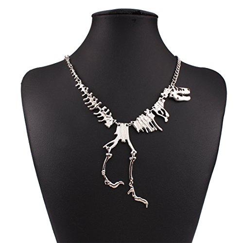 Jewelry Women's Vintage Metal Dinosaur Skeleton Necklace (Silver)