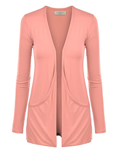 MBJ Womens Lightweight Long Sleeve Draped Open Front Cardigan with Pockets