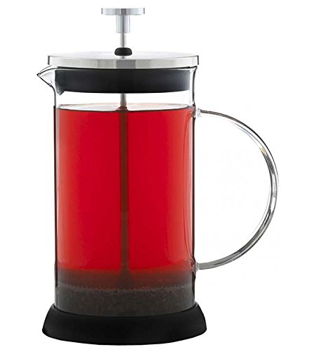 GROSCHE LISBON French Press Coffee and Tea Press, All Glass body with Stainless Steel filter press, removable silicone grip base, and Coffee Scoop