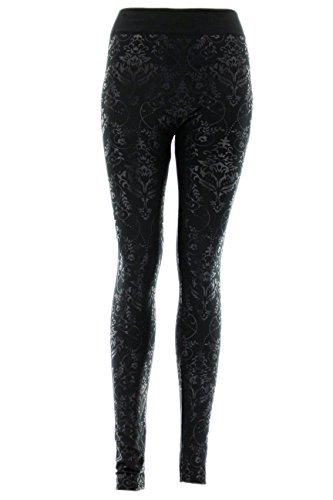 D&K Monarchy Women's Metallic Leggings (0-12) Black (Damask)
