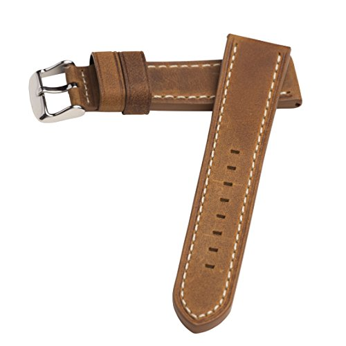 Hadley Roma MS854 20mm Rust Oil Tan Distressed Leather Stitched Men's Watch Band