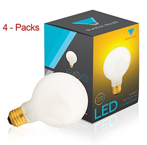 (Pack of 4) G25 LED Bulb 8W, Warm white, 2700K, 40W Globe Bulb Incandescent Replacement, White Cover,