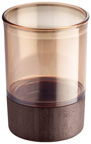 InterDesign Formbu Tumbler Cup for Bathroom Vanity Countertops - Amber/Espresso