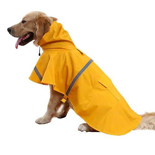 BINGPET BA1065 Adjustable Dog Raincoat Pet Puppy Lightweight Rain Jacket Poncho with Strip Reflective