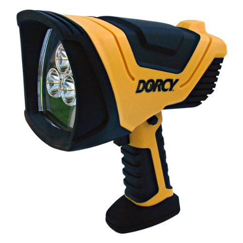 Dorcy 41-1080 Rechargeable Pistol Grip LED Spotlight with Trigger Lock Switch and AC and DC Adapters, 750-Lumens, Yellow Finish