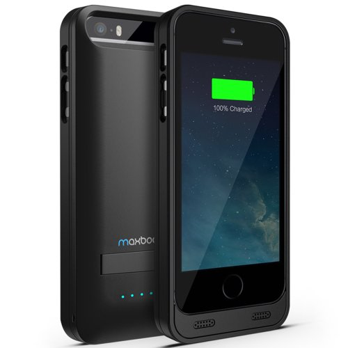 iPhone 5S Battery Case - iPhone 5 Battery Case , Maxboost Atomic S [MFI Certified] External Protective Battery Charging Case Power Bank Charger All Versions of Apple iPhone 5/5S [Juice Battery Pack]