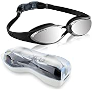 Swimming Goggles, Gdealer Adult Swim Goggles with Mirror Coated Lenses and Ear Plug Anti-shatter Anti-fog UV Protection Swim Glasses for Men Women Youth Junior Children