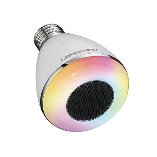 LIGHTSTORY Bluetooth Smart Bulb, E26 Base 8W 6500K Color Changing Speaker LED Bulb, Dimmable Wireless Light Bulb